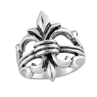 Handmade Grandeur Fleur de Lis Lily Flower Sterling Silver Ring (Thailand)