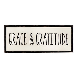 "Embossed ""Grace & Gratitude"" Enameled Metal Wall Decor - Distressed Cream"