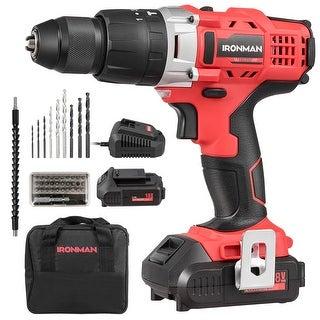18V Cordless Drill Driver Impact Tool Kit 1/2'' Chuck 2000mAh Li-Ion w/ LED Light - Red + Black