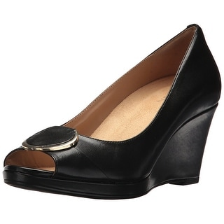 Naturalizer Womens ollie Leather Peep Toe Wedge Pumps