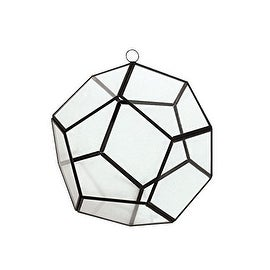 "CYS® Hanging Metal Glass Vase Geometric Pentahedron Terrarium / Candle Holder - 6"" (Chain Included)"