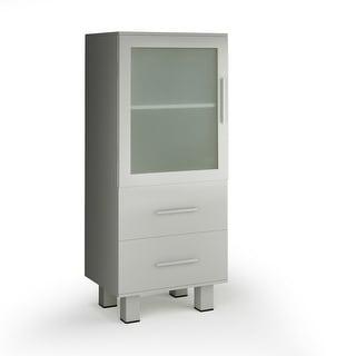 Gymax Wood Floor Cabinet Storage Unit Organizer Stand Chest Glass Door - Single