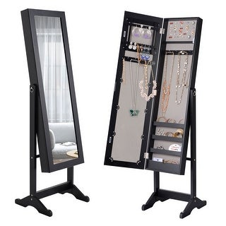 Costway Mirrored Jewelry Cabinet Mirror Organizer Storage Ring Stand