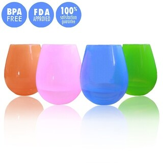 Food Grade Silicone Red Wine Glasses Unbreakable Party Drinking Cups 4 Pack
