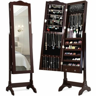Gymax Mirrored Jewelry Cabinet Armoire Storage Organizer w/Drawer &