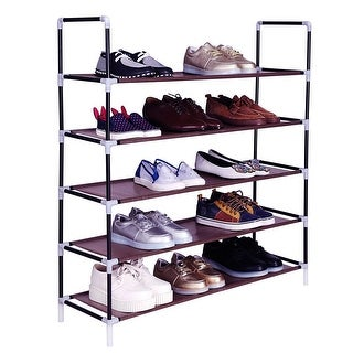 5 Tiers Shoe Rack 25 Pairs Non-woven Fabric Shoe Tower Organizer Cabinet