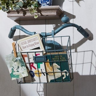 Design Toscano Weather Worn Vintage Bicycle Basket Wall Planter &Magazine Rack