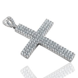925 Sterling Silver Cross Pendant For Mens with Round cut CZ Height 47
