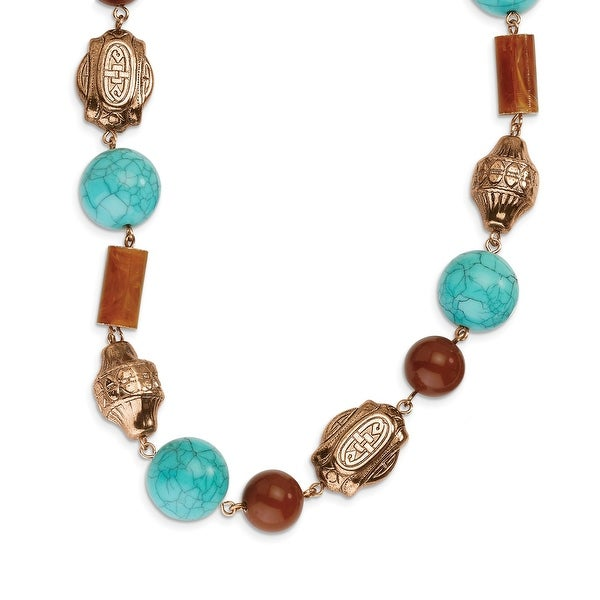 Copper Aqua & Brown Acrylic Beads Necklace - 44in