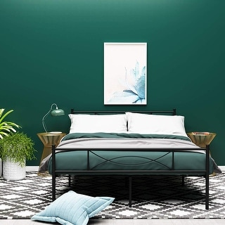 4 Color Full Metal Bed Frame Bedroom Furniture with headboard Easy to set up
