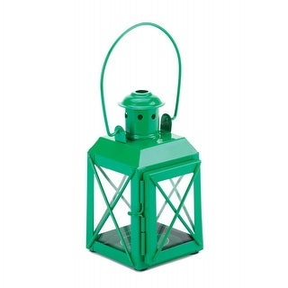 Set of 2 Green Trolley Candle Lanterns