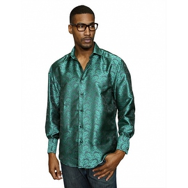 MZT-225 HUNTER Men's Manzini Paisley Woven Shirt French Cuff with Cufflink Included