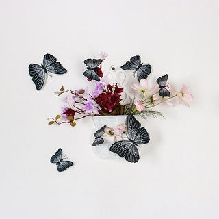 24pcs 3D Butterfly Wall Stickers Decal Sticker for Home Decoration Black