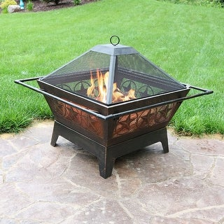 "Sunnydaze 32"" Fire Pit Steel Northern Galaxy Design with Cooking Grate and Poker"