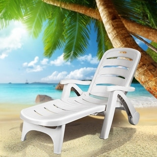 Costway Adjustable Folding Patio Chaise Deck Chair Lounger 5 Position