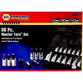 36 Pc. Master Torx Set w/ Hex Bit Socket 1/4, 3/8,1/2 In. Drs