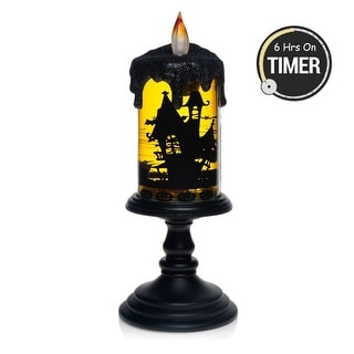 Halloween Rotating Tornado LED Lighting Flameless Candle, Battery Operated Table Centerpiece for Home and Party