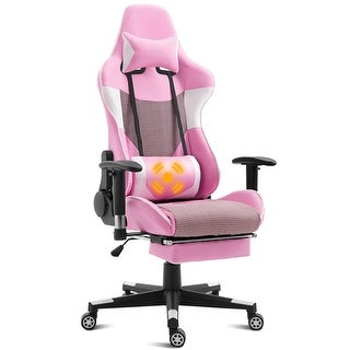 Massage Gaming Chair Recliner Racing Chair w/ Lumbar Support &