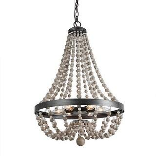 "LNC Farmhouse 6-Light Wood Bead Empire Chandeliers Bohemian Lighting 20"" - W20.1""x H28.3"""