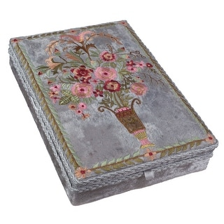Victorian Trading Co. Floral Embroidered Velvet Jewelry Box - Vintage Look - Gray