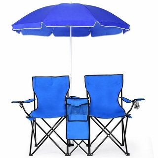 Costway Portable Folding Picnic Double Chair W/Umbrella Table Cooler