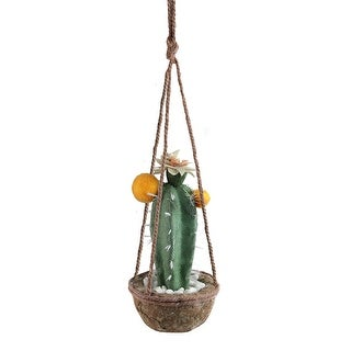 8 Green and Orange Hanging Potted Cactus with Flowers