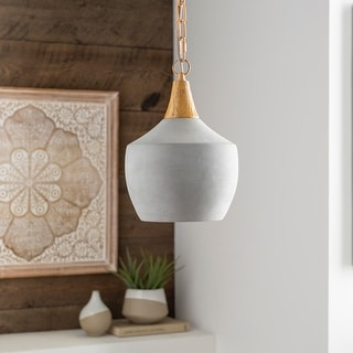 "Marpa Concrete & Wood Farmhouse 1-light Pendant - 13"" x 15"" x 15"""