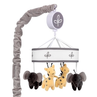 Lambs & Ivy Me & Mama Gray/White Safari Giraffe and Elephant Musical Baby Crib Mobile