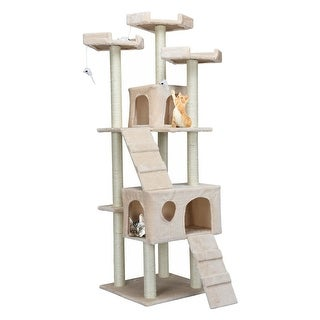 Gymax 70'' Cat Tree Condo Sisal-Covered Scratching Posts Mouse Toy Pet