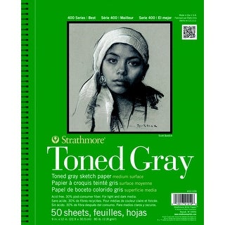 Strathmore 400 Series Toned Gray Drawing Pad, 9 x 12 Inches, 80 lb, 50 Sheets