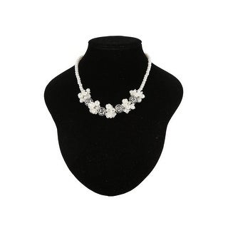 Cinderella Couture Pearl Flower Silver Trim Necklace - One Size