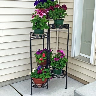 "Sunnydaze 6-Tiered Metal Folding Plant Flower Pot Stand - 45"" - Indoor-Outdoor - 6-Tier"