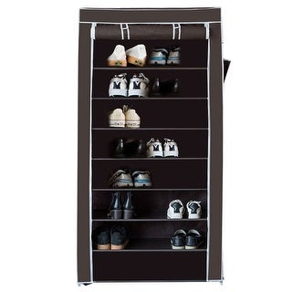 Costway 10 Tier Shoe Tower Rack with Fabric Cover 27 Pair Space Saving