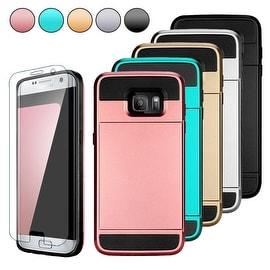 Card Pocket ShockProof Slim Hybrid Wallet Case Cover For Samsung Galaxy S7