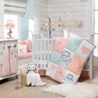 Lambs & Ivy Sweet Owl Dreams Pink Heart Nursery 6-Piece Baby Crib Bedding Set