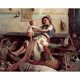Playing With Baby by Gaetano Chierici Children Art Print