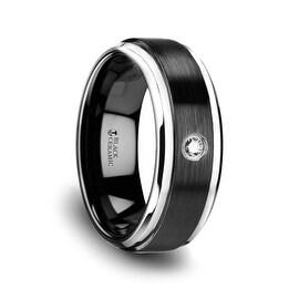 MONARCH Black Ceramic Diamond Wedding Band with Polished Beveled Step Edges & Raised Brush Center