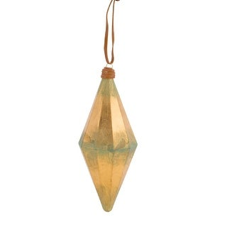 """8.5"""" Gold and Green Weathered Geometric Finial Christmas Ornament"""