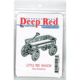 Deep Red Stamps Little Red Wagon Rubber Cling Stamp - 2.1 x 1.8