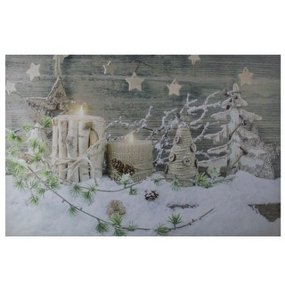 """Country Rustic Winter Christmas LED Lighted Canvas Wall Art 23.5"""" x 15.5"""""""