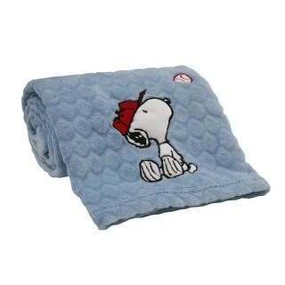 Bedtime Originals Snoopy Sports Blue Baseball Soft Baby Blanket