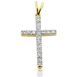 Gold and Diamond Cross Pendant Small 25mm 10k Yellow Gold 1/4cttw(i2/i3, I/j)