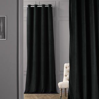 Exclusive Fabrics Warm Black Grommet Velvet Blackout Curtain Panel
