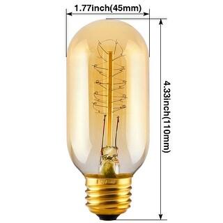 8 Pack T45 (T14) Filament Vintage Light Bulb, E26 Base, Spiral Tungsten, 2500K Sunrise White