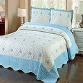 King Size Blue White 3pc Bedspread Quilted High Quality Bed Cover Embroidery Quilt
