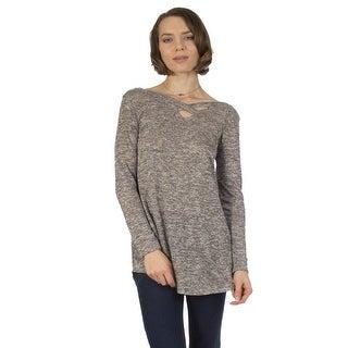 Women's Criss Cross Long Sleeve Top (S-3XL) Made in USA