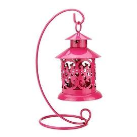 "8.75"" Shiny Purple Votive or Tealight Candle Holder Mini Lantern with Hanger"