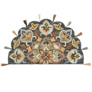"Alexander Home Hand-Hooked Sophie 100% Wool Medallion Tassel Hearth Rug - 2'3"" x 3'9"" Hearth"