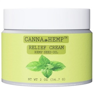 Hemp Relief Cream for Pain with Coconut Oil, Eucalyptus, Peppermint and Rosemary Essential Oils - Vegan, Gluten Free - 2 Oz