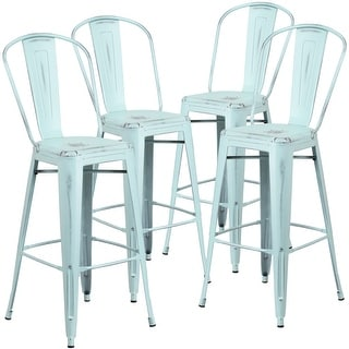 "4 PK 30""H Distressed Indoor-Outdoor Metal Dining Barstool with Back"